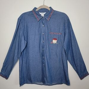 Vintage Northern Reflections Medium Denim Button Up Long Sleeve with Apples